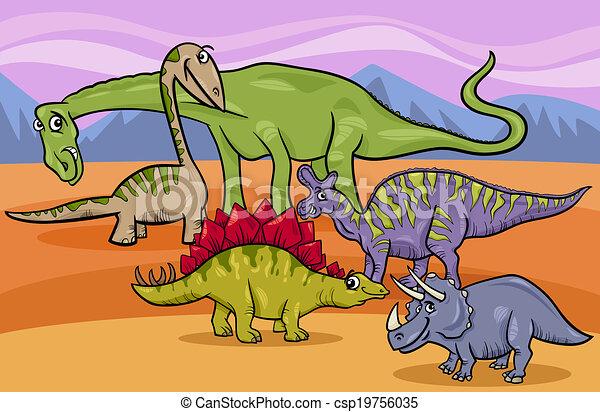 dinosaurs group cartoon illustration - csp19756035