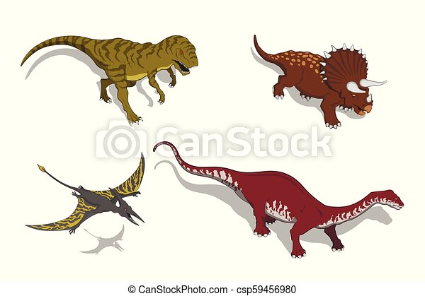 Dinosaurs in isometric style. Isolated image of jurassic monster. Cartoon dino 3d icon - csp59456980