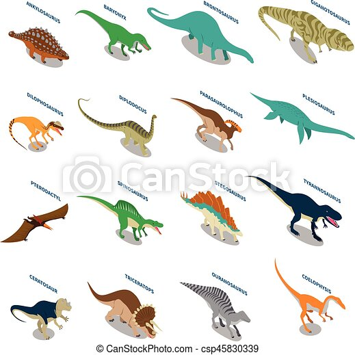 Dinosaurs Isometric Icons Set - csp45830339