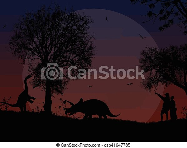 Dinosaurs silhouettes in beautiful landscape - csp41647785