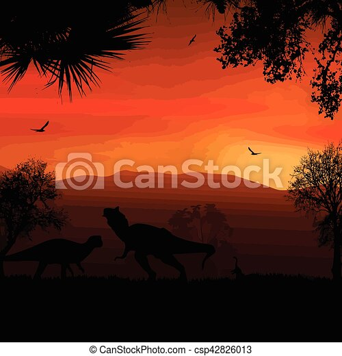 Dinosaurs silhouettes in beautiful landscape - csp42826013
