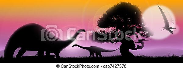Dinosaurs soft landscape - csp7427578
