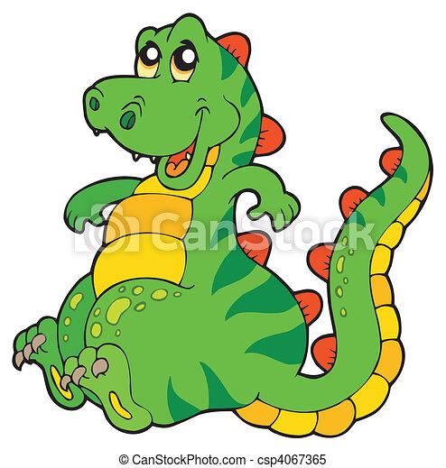 dinossauro, sentando, cute - csp4067365