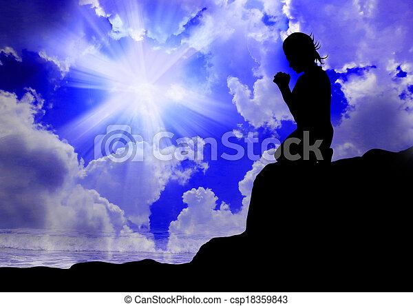 dio, donna pregando - csp18359843