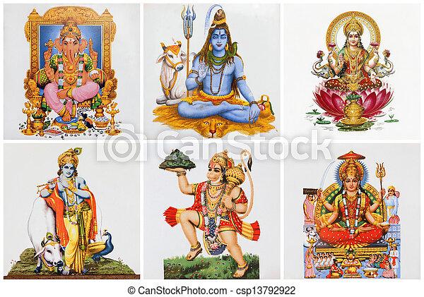Poster con dioses hindúes en azulejos de cerámica - csp13792922