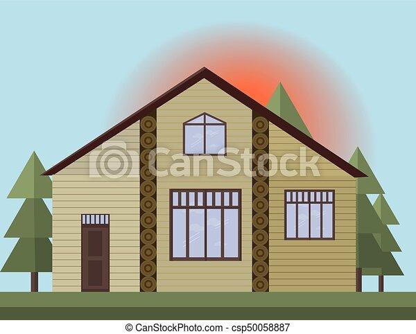 dipinto, casa, illustrazione, legno, vettore, tramonto, sfondo beige, forrest., facciata - csp50058887