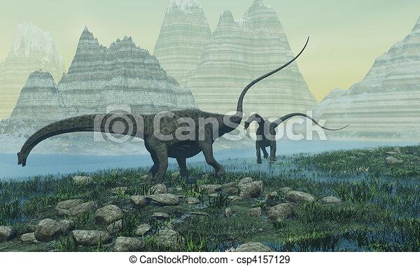 Montagne m cher deux lake dinosaures diplodocus v g tation - Dessin de diplodocus ...