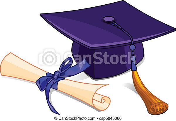 diplom, kappe, studienabschluss - csp5846066