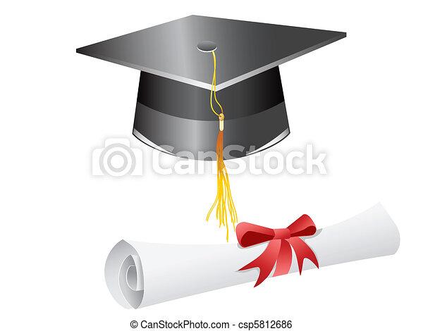 diploma, boné, graduação - csp5812686
