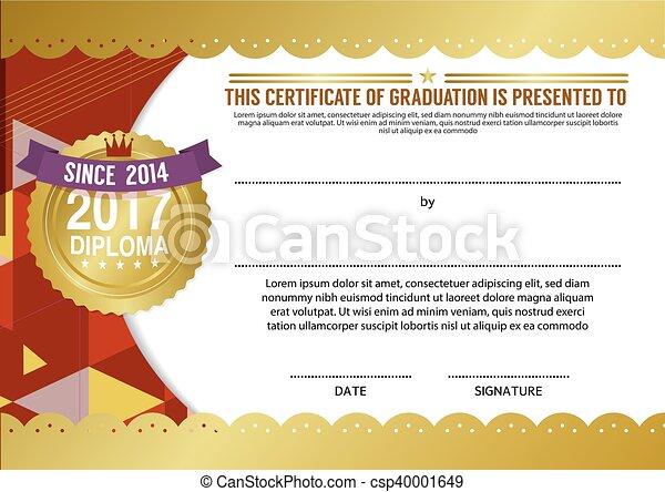 Diploma Certificate Blank Template Vector Illustration