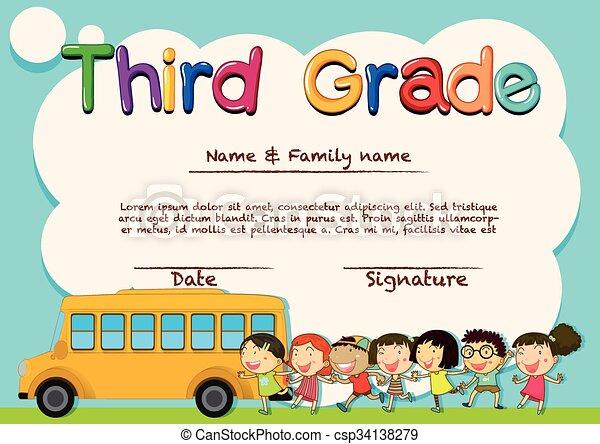Diploma for third grade students - csp34138279