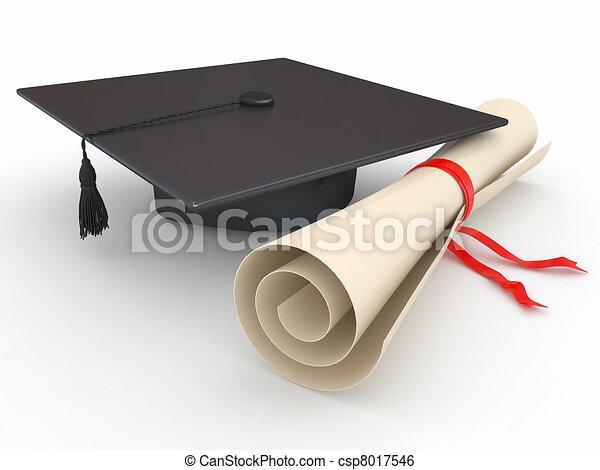 Graduación. Mortero y diploma. 3D - csp8017546