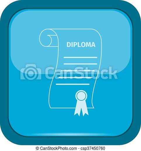 Diploma icon on a blue button - csp37450760