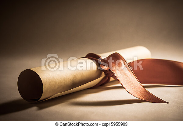 Diploma Scroll with Ribbon - Vintage - csp15955903