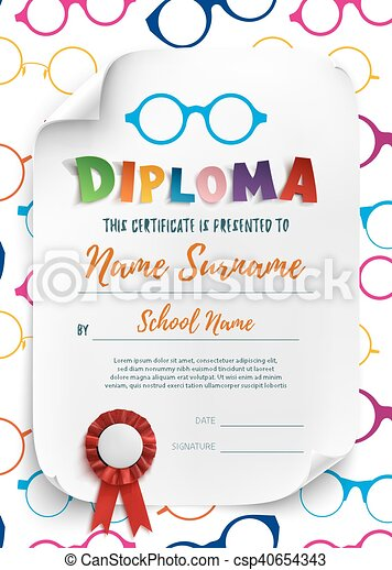 diploma template for kids with reading glasses diploma template for