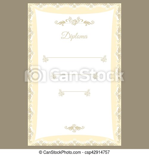 diploma template or certificate frame border design csp42914757
