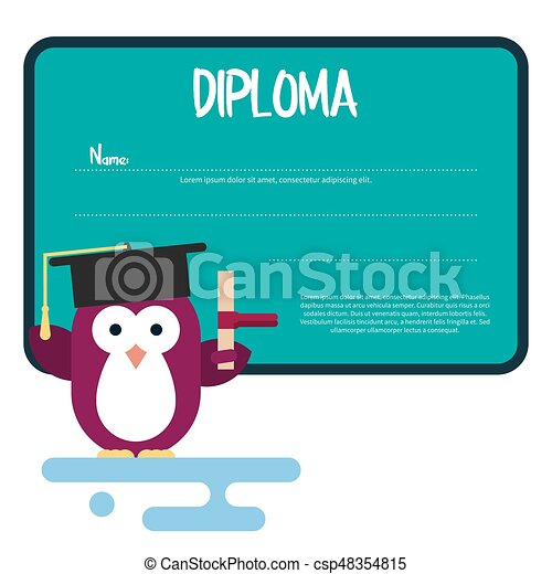 Diploma template with flat penguin character stylized as a student. - csp48354815