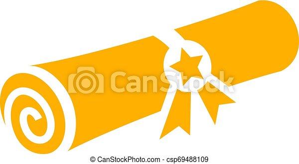 diploma, vetorial, ouro, grau, ícone - csp69488109