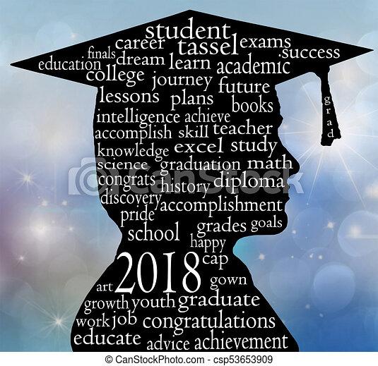 Chico graduado con gorra por 2018 - csp53653909