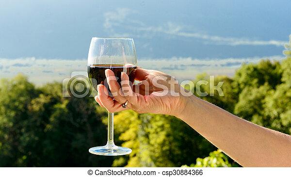direção, exposto, sol, vidro vinho vermelho - csp30884366