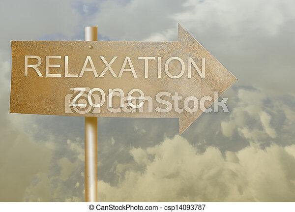 direção, feito, zona, texto, sinal metal, relaxamento, ferrugem - csp14093787