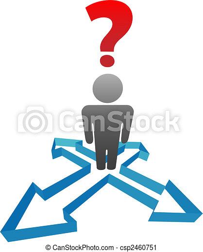 La persona interrogante indecisa en las flechas de la dirección - csp2460751