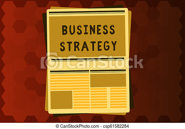 Señal de texto mostrando estrategia de negocio. El plan de gestión de fotos conceptivas para lograr objetivos deseados - csp61582284