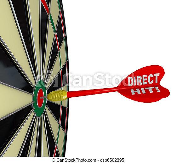 Direct Hit - Successful Bulls-Eye on Dart Board - csp6502395