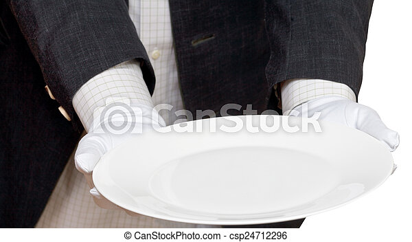 direct view of empty white plate in hand in gloves - csp24712296