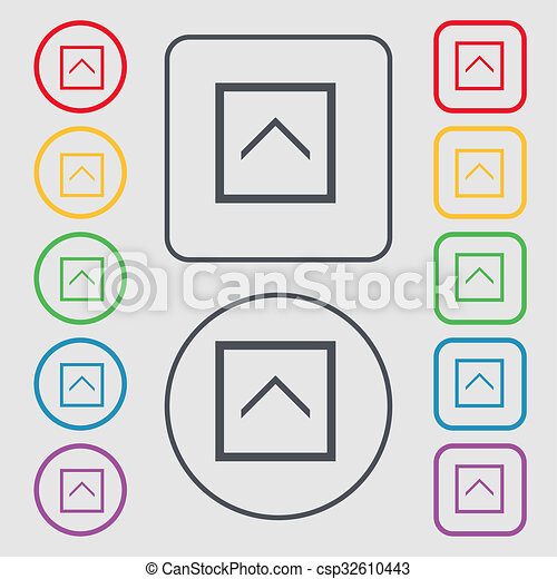 Direction Arrow Up Icon Sign Symbol On The Round And Square