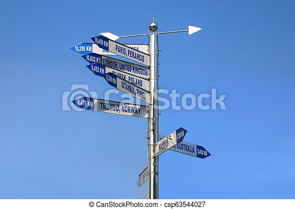 Direction arrows signpost with distance to many different cities in the world. - csp63544027