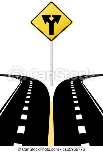 direction, décision, flèches, signe, avenir, choix, route - csp5956776