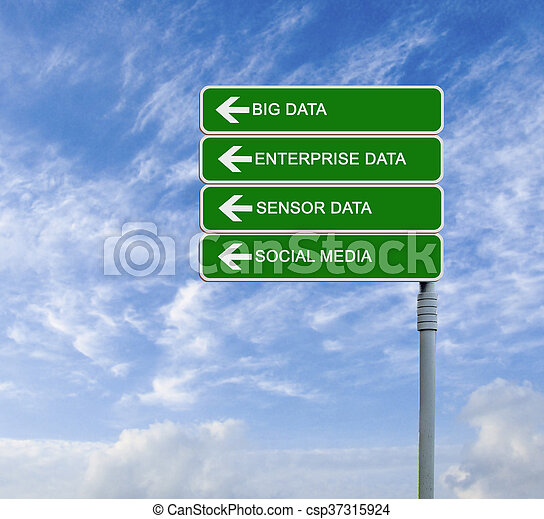 Direction road sign to big data - csp37315924