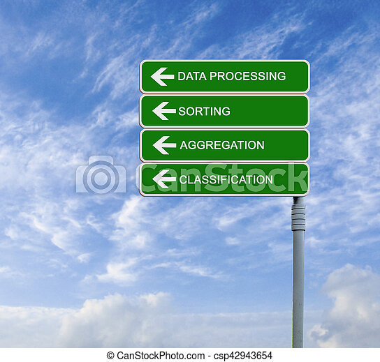 Direction road sign to data processing - csp42943654