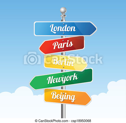 Direction road signs. Europe - csp18950068