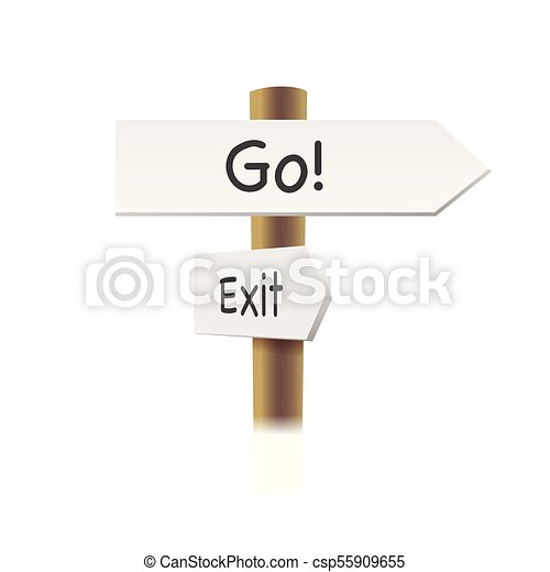 Direction road signs - Go and Exit - arrows on white background . Vector illustration. - csp55909655