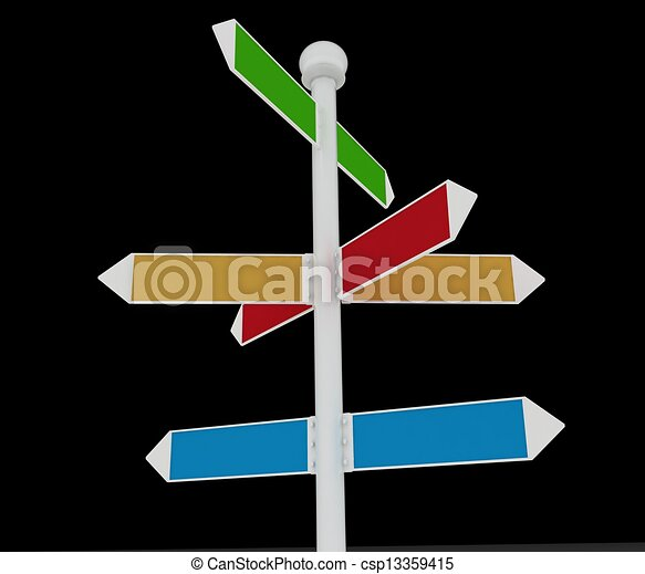 Direction road signs on black  background.  - csp13359415