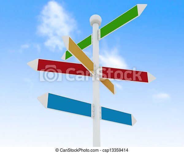 Direction road signs on blue sky  background - csp13359414