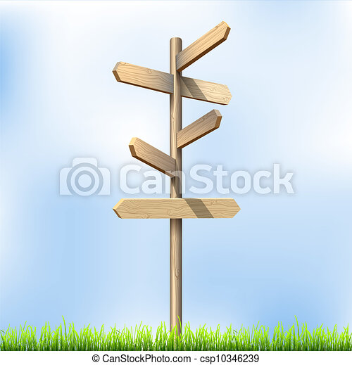 Direction road wooden signs - csp10346239