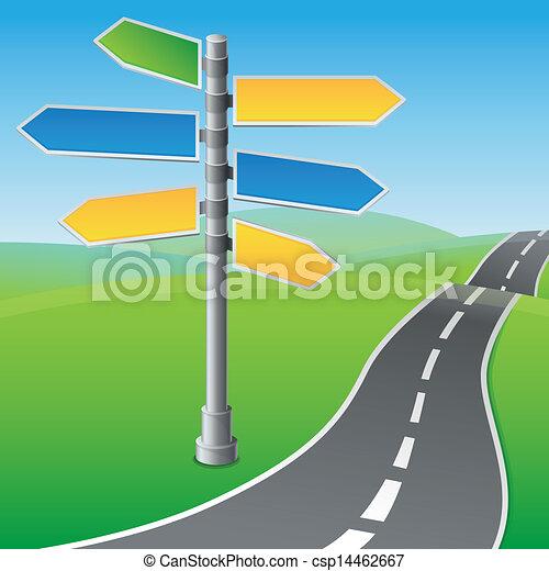 directions, différent, vecteur, panneaux signalisations - csp14462667