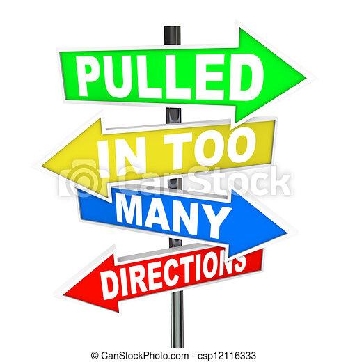 directions, tension, tiré, inquiétude, beaucoup, signes - csp12116333