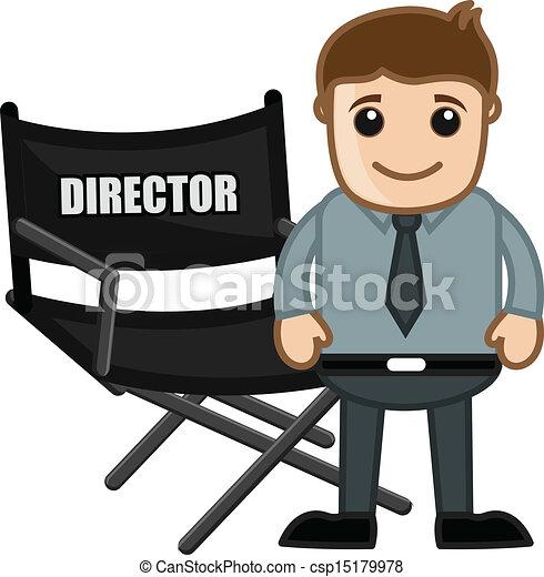 director chair business cartoons drawing art of cartoon director