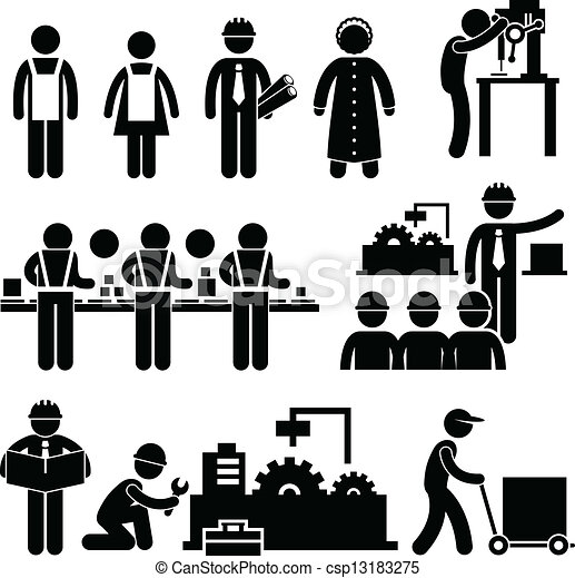 director trabajador f brica trabajando conjunto personas trabajo pictograms factory. Black Bedroom Furniture Sets. Home Design Ideas