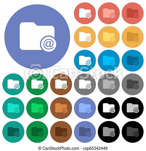 Directory email round flat multi colored icons - csp65342448