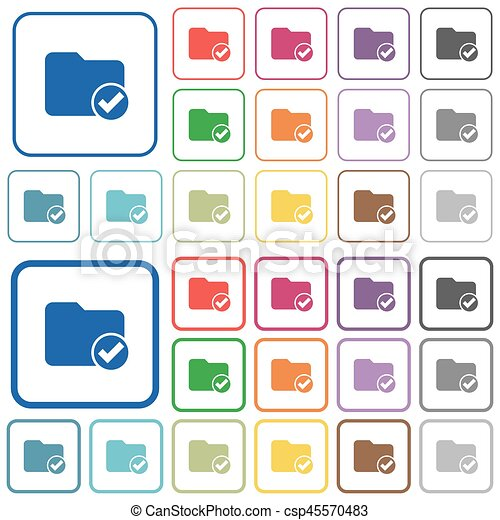 Directory ok outlined flat color icons - csp45570483