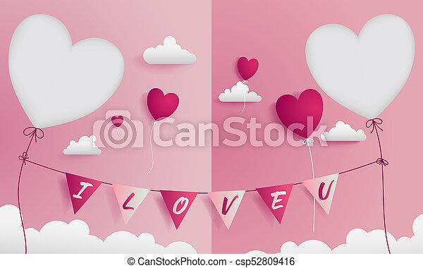 direita, doce, par, saudação, valentine, 2, die-cuts, tem, cartão, esquerda - csp52809416