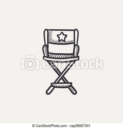 Bürostuhl skizze  direktor stuhl, skizze, icon.