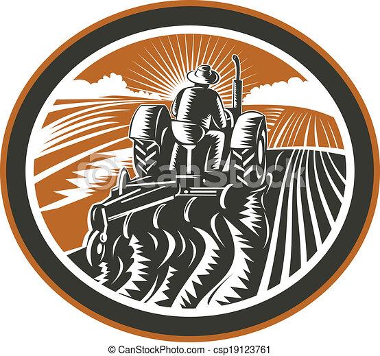 dirigindo, campo, retro, agricultor, arar, trator - csp19123761