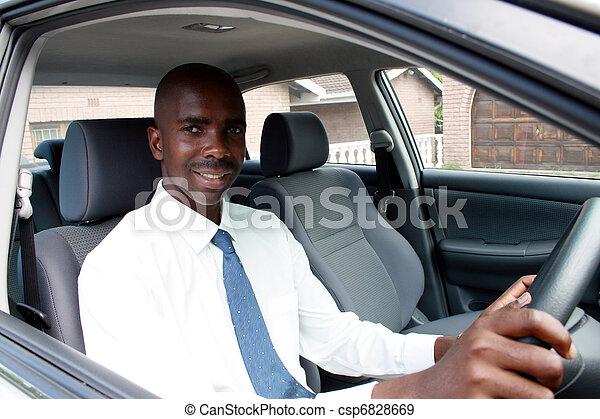 dirigindo, homem negócios, africano - csp6828669