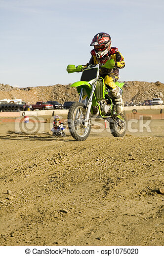 Dirt bike racer on track racing - csp1075020